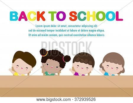 Back To School Happy School Kids Studying And Raising Their Hands To Answer, Group Cute Children Sit