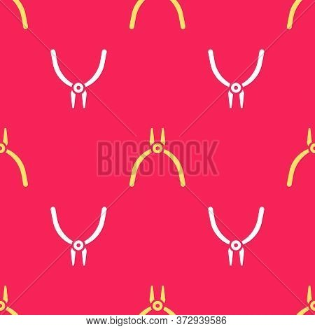 Yellow Pliers Tool Icon Isolated Seamless Pattern On Red Background. Pliers Work Industry Mechanical