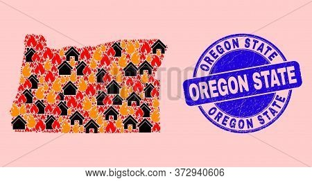 Fire And Realty Collage Oregon State Map And Oregon State Rubber Seal. Vector Collage Oregon State M