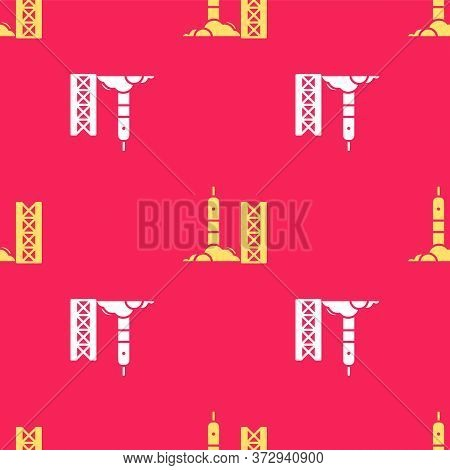 Yellow Rocket Launch From The Spaceport Icon Isolated Seamless Pattern On Red Background. Launch Roc