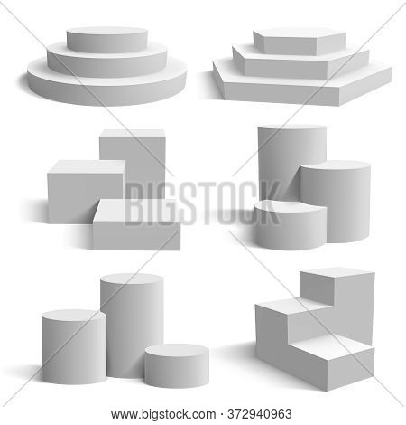 White 3d Podium. Realistic Pedestal Cylinder And Round Stand Stages, Geometric 3d Presentation Platf