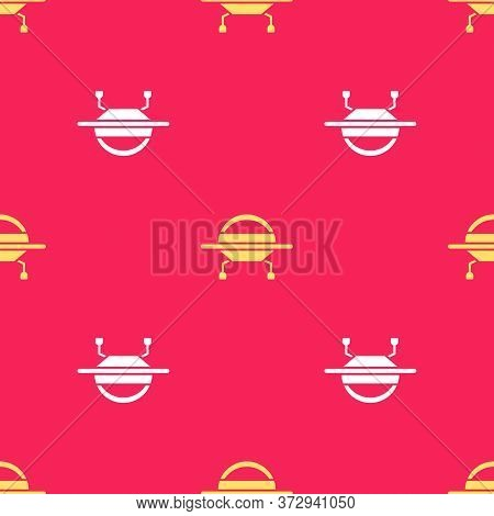 Yellow Ufo Flying Spaceship Icon Isolated Seamless Pattern On Red Background. Flying Saucer. Alien S