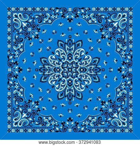 Vector Ornament Paisley Bandana Print. Silk Neck Scarf Or Kerchief Square Pattern Design Style, Best