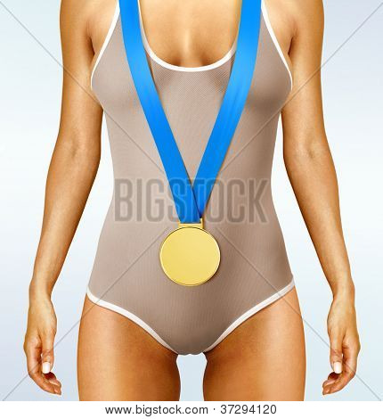 Part of beautiful woman body wearing gold medal