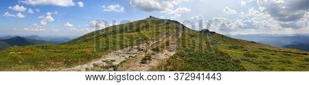 Beautiful Mountain Landscape, Road On Mount Pip Ivan. At Top Of Mountain Are Ruins Of Polish Astrono