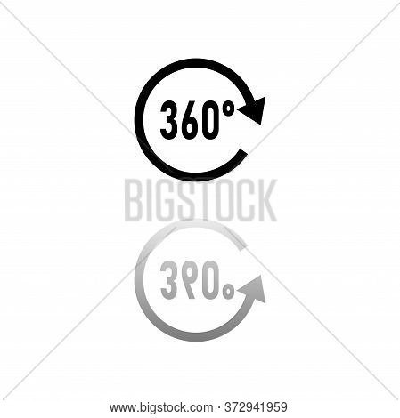 Angle 360 Degrees. Black Symbol On White Background. Simple Illustration. Flat Vector Icon. Mirror R