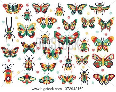 Hand Drawn Cute Insects. Doodle Flying Butterfly And Beetle, Colorful Spring Insects. Drawing Butter