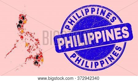 Fire Hazard And Property Collage Philippines Map And Philippines Unclean Stamp Print. Vector Collage
