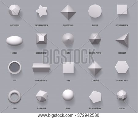 Hexagonal Realistic 3d Shapes. Basic Geometric Shapes, Math 3d Figure Forms Cube, Cylinder And Prism