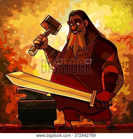 Cartoon Bearded Man Blacksmith Forges A Sword In A Fire Forge. Vector Image