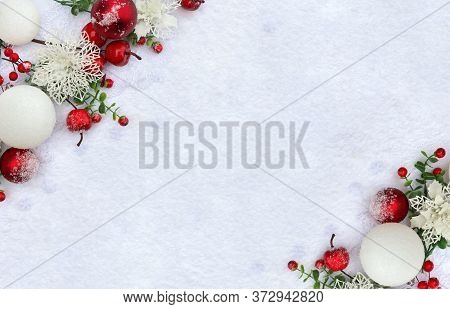 Christmas Decoration. Frame Of Twigs Christmas Red Berries, Apple, Red And White Balls, White Openwo