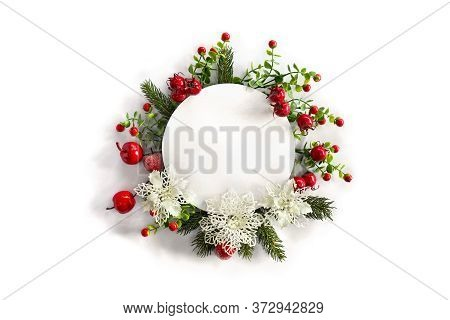 Christmas Decoration. Twigs Christmas Tree, Red Berries, Red Apples, White Openwork Flowers With Whi