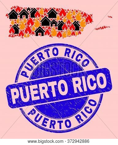 Fire Hazard And Realty Collage Puerto Rico Map And Puerto Rico Corroded Stamp Print. Vector Collage