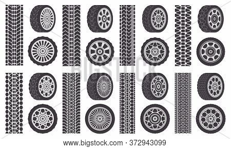 Car Wheel Tires. Track Traces, Automobile Wheel Rims, Auto Vehicle Tread Tracks. Rubber Wheel Tires