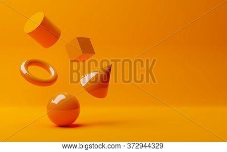 Shiny Orange Geometric Primitives, Sphere, Cone, Cube And Torus Floating On Orange Background, Moder