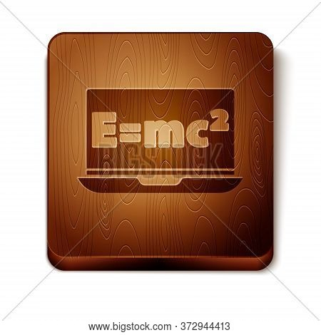 Brown Math System Of Equation Solution On Laptop Icon Isolated On White Background. E Equals Mc Squa