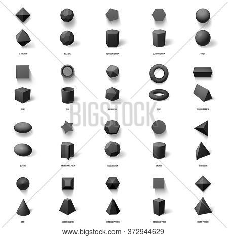 Realistic Geometric 3d Shapes. Basic Geometric Polygonal Figures, Cube, Pyramid, Sphere And Prism Mo