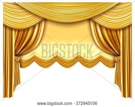 Golden Stage Curtain. Realistic Silk Curtains, Luxury Opera Scene Backdrop, Gold Opera, Theater Scen