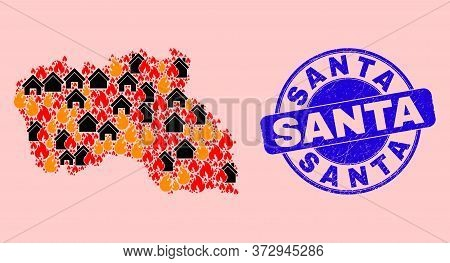 Fire Disaster And Homes Collage Santa Maria Island Map And Santa Rubber Stamp. Vector Collage Santa