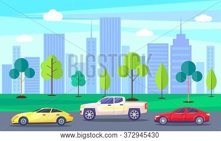 City With Skyscrapers And High Rises In Spring. Streets Filled With Cars, Vehicles On Roads. Urban L