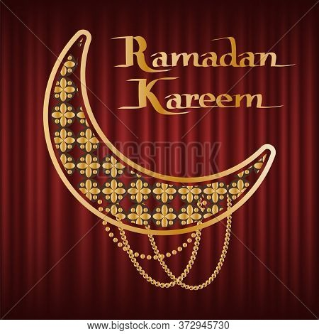Poster Or Greeting Card Of Ramadan Kareem, Golden Crescent Moon Decorated By Stars And Beads. Arabic