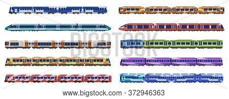 Train Carriage. Passenger Railroad Trains, Modern Subway High Speed Trains, Urban Transportation Iso