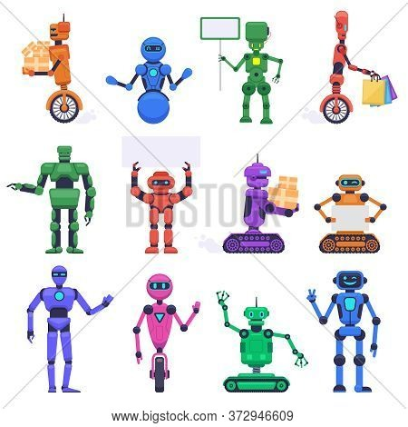 Robot Characters. Robotic Mechanical Humanoid Characters, Chatbot Assistant Mascots, Technology Andr