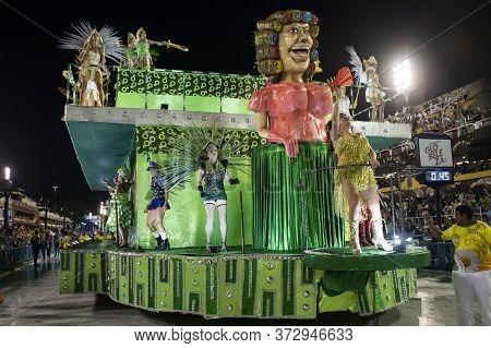 Rio, Brazil - February 21, 2020: Parade Of The Samba School Imperio Serrano, At The Marques De Sapuc