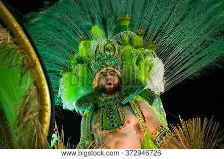 Rio, Brazil - February 22, 2020: Parade Of The Samba School Academicos De Santa Cruz, At The Marques