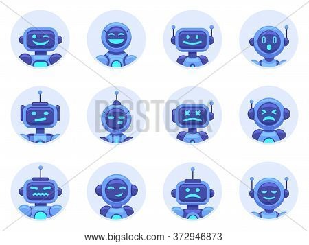 Chat Bot Avatars. Robotic Digital Assistant Avatar, Computer Online Assistance Bot, Virtual Machine