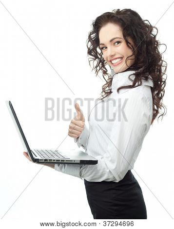 portrait of attractive  caucasian smiling woman isolated on white studio shot looking at camera notebook computer laptop