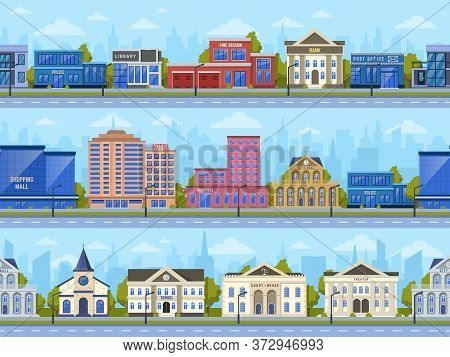 City Street Panorama. City Road Streets Cityscape, Town Buildings, Bank, School And Shopping Mall Ex