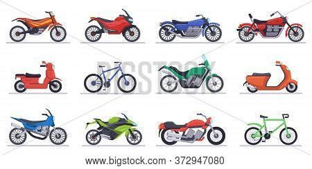 Motorcycles And Scooters. Motorbike, Speed Bikes Modern Vehicles, Scooters, Motocross Bike And Chopp