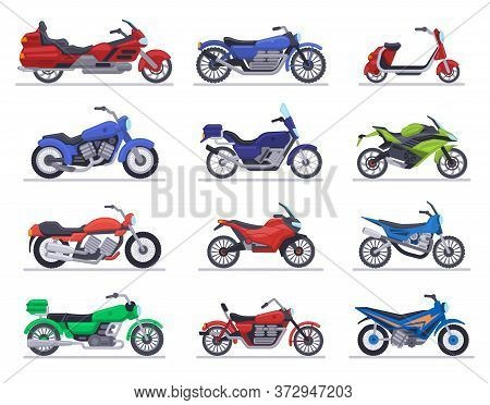 Motorbike Models. Motorcycle, Scooter And Speed Race Bike, Modern Moto Vehicles, Choppers Motor Tran