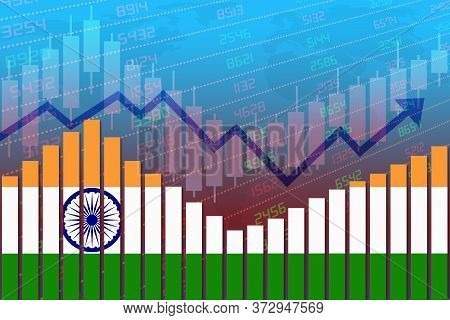 3d Rendering Of Flag Of India On Bar Chart Concept Of Economic Recovery And Business Improving After