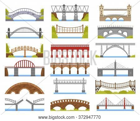 City Bridge. Urban Crossover Bridge Construction, Truss And Tied Arch River Bridge, Carriageway Arch