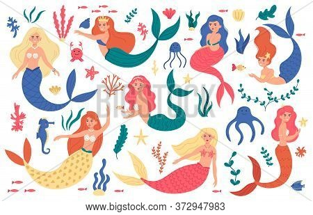 Cute Mermaids. Princess Mermaid Characters, Hand Drawn Magic Fairy Underwater, Marine Life, Mermaid
