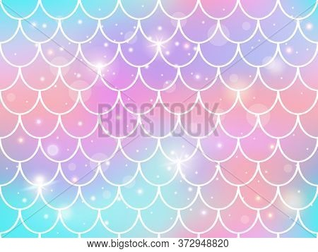 Mermaid Scales Pattern. Rainbow Princess Mermaid Backdrop, Magic Sparkles Underwater Fishtail Scales