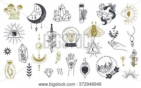 Magic Doodle Symbol. Witch Hand Drawn Magic Element, Doodle Witchcraft Crystal, Skull, Knife, Myster