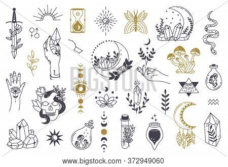 Witch Magic Symbols. Doodle Esoteric, Boho Mystical Hand Drawn Elements, Magic Witchcraft Crystal, E