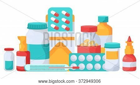 Medication Supplements. Medicine Pills, Vitamins Blister Packs, Medicine Pills Bottles, Pharmacy Pai