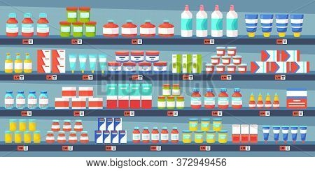 Medicine Pharmacy Shelves. Pharmacy Shop Interior, Medicine Pills Bottles, Painkiller Treatments Dru