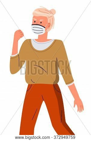 Isolated Portrait Of Young Woman Wearing Face Medical Mask Show Fight Gesture At White Background. V