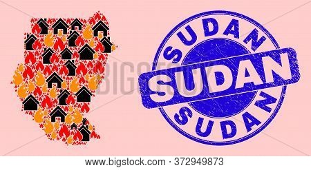 Fire Hazard And Houses Mosaic Sudan Map And Sudan Grunge Watermark. Vector Mosaic Sudan Map Is Forme