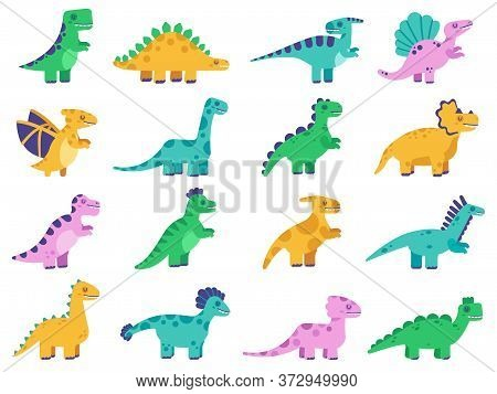 Cute Dinosaurs. Hand Drawn Comic Dinosaurs, Funny Dino Characters, Tyrannosaurus, Stegosaurus And Di