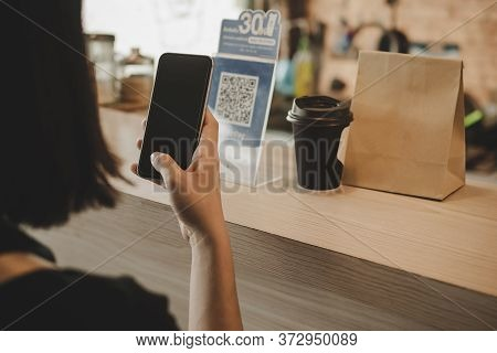 Woman Customer Using Digital Mobile Phone Scan Qr Code Pay For Buying Coffee In Modern Cafe Coffee S