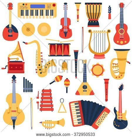 Music Instruments. Musical Classical Instruments, Guitars, Saxophone, Drum And Violin, Jazz Band Mus