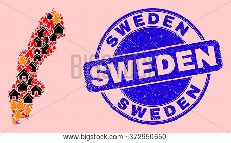 Fire Disaster And Realty Collage Sweden Map And Sweden Grunge Stamp Print. Vector Collage Sweden Map