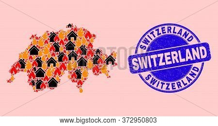 Fire And Homes Collage Switzerland Map And Switzerland Unclean Stamp. Vector Collage Switzerland Map