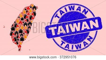 Flame And Buildings Collage Taiwan Map And Taiwan Corroded Stamp Print. Vector Collage Taiwan Map Is